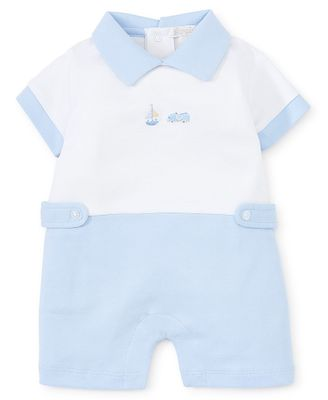 Kissy Kissy Baby Boys Light Blue Race Car / Sailboat Playsuit Romper