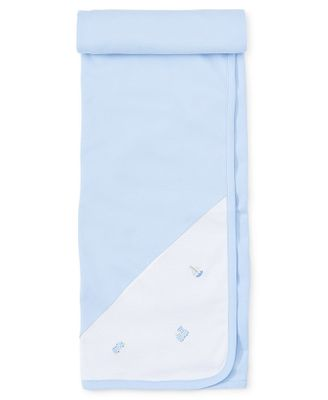 Kissy Kissy Baby Boys Light Blue Race Car / Train / Sailboat Receiving Blanket