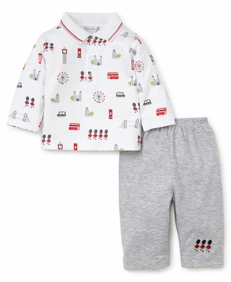 Kissy Kissy Baby Boys London Print Polo Collar Shirt with Grey Pants