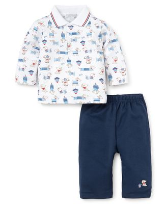 Kissy Kissy Baby Boys Navy Blue Pants with Cozy Pups Print Polo Shirt