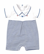 Kissy Kissy Baby Boys Navy Blue Stripe Crab Craze Playsuit with Collar