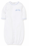 Kissy Kissy Baby Boys Pique Bunny Hop White Converter Gown - Blue Bunnies