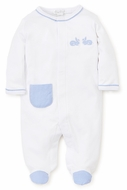 Kissy Kissy Baby Boys Pique Bunny Hop White Footie - Blue Gingham Pocket