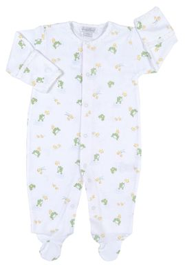Kissy Kissy Baby Boys Pond Pals Green Frogs Print Footie