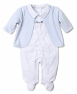 Kissy Kissy Baby Boys Premier Choo Choo Train White Footie with Blue Velour Jacket
