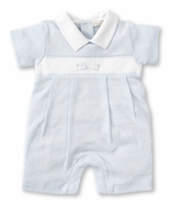 Kissy Kissy Baby Boys Premier Cottontails Blue Check Bunny Playsuit - White Collar