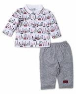 Kissy Kissy Baby Boys Red / Gray London Live Pants Set
