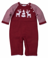 Kissy Kissy Baby Boys Red Reindeer Sweater Knit Romper Playsuit