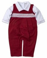 Kissy Kissy Baby Boys Red Smocked Holiday Longall Set