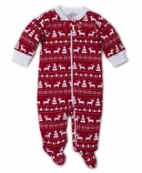 Kissy Kissy Baby Boys Red / White Christmas Reindeer Zipper Footie