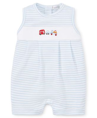 Kissy Kissy Baby Boys Sleeveless Playsuit Romper - Blue Stripes with Cars