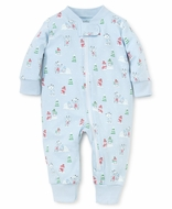 Kissy Kissy Baby Boys Snow Day Snowman Print Pajamas with Zipper - Blue