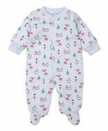 Kissy Kissy Baby Boys Snowman Reindeer Fun Footie - Blue