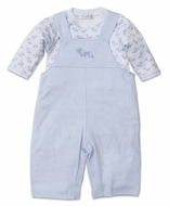 Kissy Kissy Baby Boys Stripe Overall with Elephants Bodysuit Shirt - Blue
