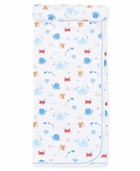 Kissy Kissy Baby Boys Under the Sea Print Receiving Blanket - Blue