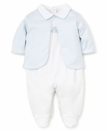 Kissy Kissy Baby Boys White / Blue Giraffe Footie with Stripe Jacket