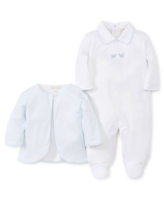 Kissy Kissy Baby Boys White Footie - Embroidered Elephants - Blue Jacket