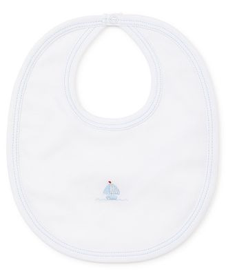 Kissy Kissy Baby Boys White Premier Sail Away - Blue Sailboat Bib