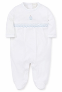 Kissy Kissy Baby Boys White Premier Sail Away - Smocked Sailboat Footie