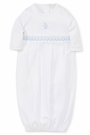 Kissy Kissy Baby Boys White Premier Sail Away - Smocked Sailboat Sack Gown