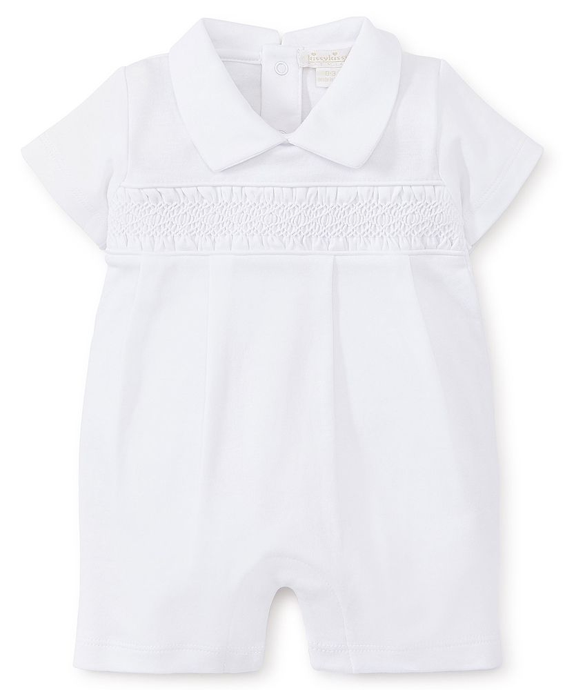 Kissy Kissy Baby Boys White Special Occasion Collection Smocked Romper