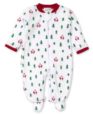 Kissy Kissy Baby Footie with Zipper - Christmas Trees Cheer