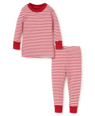 Kissy Kissy Girls / Boys Red / White Candy Cane Stripe Christmas Pajamas