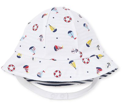 Kissy Kissy Baby Girls / Boys Reversible Navy Blue Stripes & Summer Sails Sun Hat