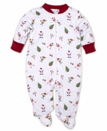 Kissy Kissy Baby Girls / Boys White / Red Holidaze Christmas Print Footie with Zipper