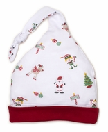 Kissy Kissy Baby Girls / Boys White / Red Holidaze Christmas Print Stocking Hat