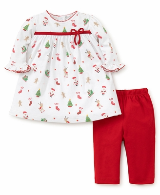 kissy kissy baby girls christmas print dress set with red leggings