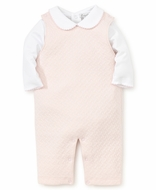 Kissy Kissy Baby Girls Classic Jacquard Overall Set with Blouse - Pink
