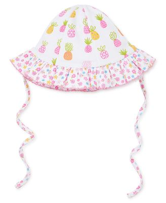 Kissy Kissy Baby Girls Colorful Pineapples / Ditsy Floral Reversible Floppy Sun Hat with Ties