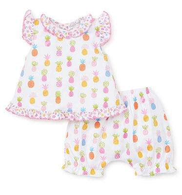 Kissy Kissy Baby Girls Colorful Pineapples Flyaway Top / Ruffle Bloomers Set