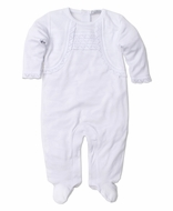 Kissy Kissy Baby Girls White Crochet Lace Trim Homecoming Footie