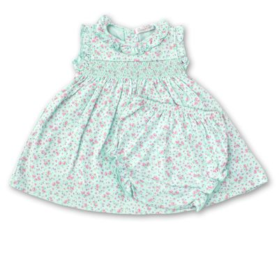 Kissy Kissy Baby Girls Floral Smocked Dress Set - Mint Green