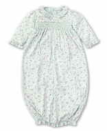 Kissy Kissy Baby Girls Floral Smocked Sack Gown - Mint Green