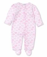 Kissy Kissy Baby Girls Footie with Zipper - Pink Heart to Heart