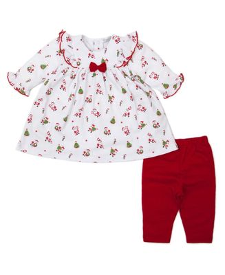 Kissy Kissy Baby Girls Here Comes Santa Claus Dress Set with Red Leggings