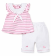 Kissy Kissy Baby Girls Hot Pink Fuchsia Stripe Sailor Top with White Capri Pants