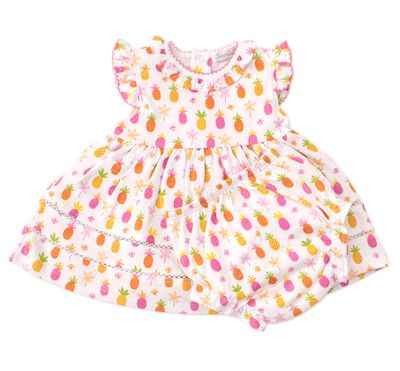 Kissy Kissy Baby Girls Hot Pink Prismatic Pineapples Dress with Bloomers