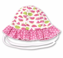Kissy Kissy Baby Girls Hot Pink Whimsical Watermelons Reversible Floppy Hat
