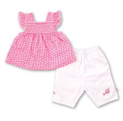 Kissy Kissy Baby Girls Hot Pink / White Floral & Watermelon Capri Set