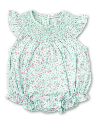 Kissy Kissy Baby Girls Mint Green Floral Smocked Bubble