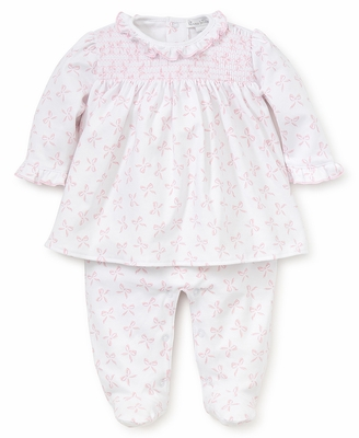 Kissy Kissy Baby Girls Pink Bunches of Bows Print Smocked Footie with Overlay