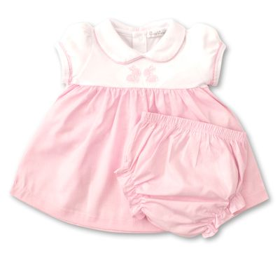 Kissy Kissy Baby Girls Pink Check Easter Bunny Dress Set