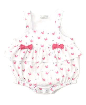 Kissy Kissy Baby Girls Pink Crab Craze Print Bubble with Bows