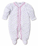Kissy Kissy Baby Girls Pink Dapple Dots Ruffle Footie