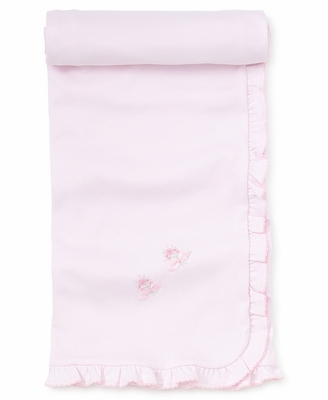 Kissy Kissy Baby Girls Pink Embroidery Flowers Ruffle Blanket
