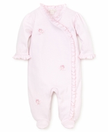 Kissy Kissy Baby Girls Pink Embroidery Flowers Ruffle Footie